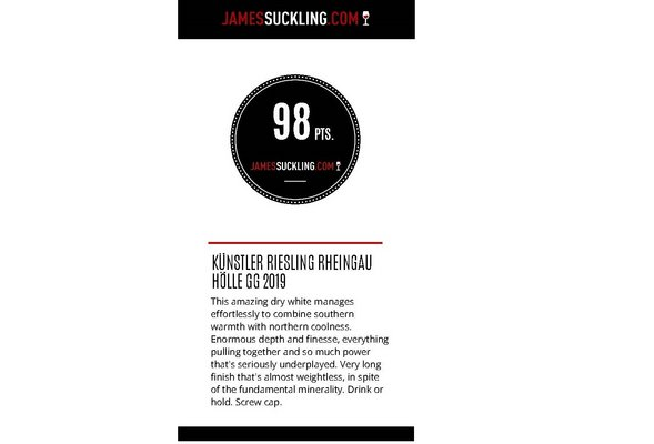James Suckling: 98/100 points HÖLLE Riesling GG 2019